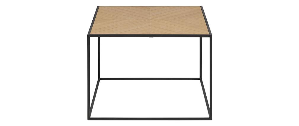 Table basse carrée bois et métal noir 60 cm KARE
