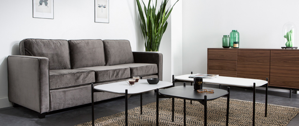 Table basse design 100 cm blanche pieds métal SEGA