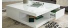 Table basse design 2 tiroirs blanche KARY