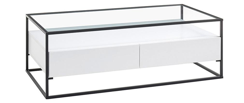 Table basse design avec plateau verre et tiroirs blancs FINN