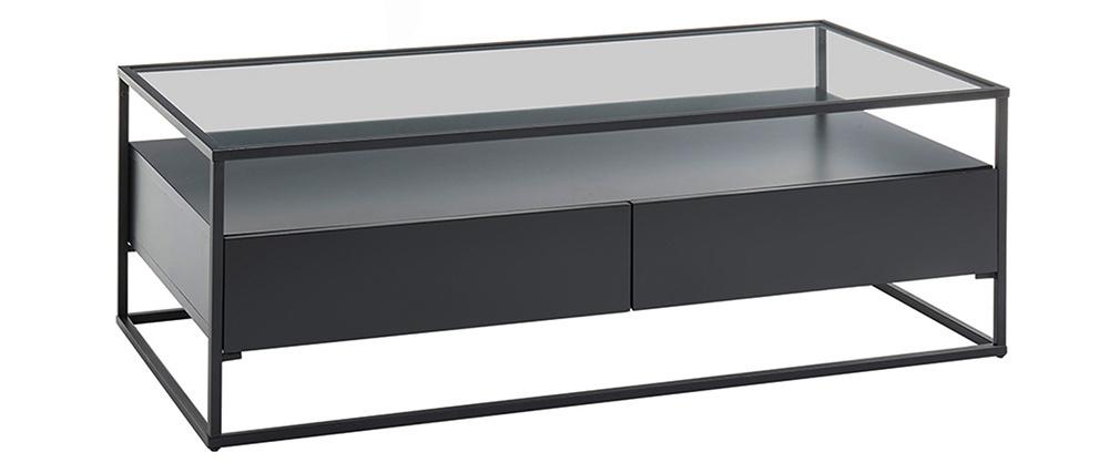 Table basse design avec plateau verre et tiroirs noirs FINN