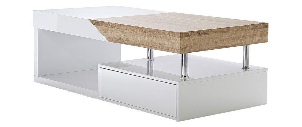 Miliboo Design Basse Chêne Avec Slice Et Blanc Table Laqué Rangements nwO80kP