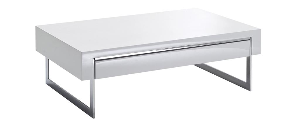 Table basse design avec tiroir blanc laqué et métal chromé COOPER