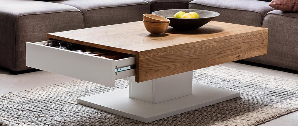Table basse design blanc laqué et bois chêne 2 tiroirs SCAB