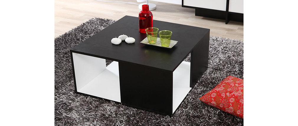 Table basse design blanche et noire cubik s miliboo - Table basse blanche et noire ...