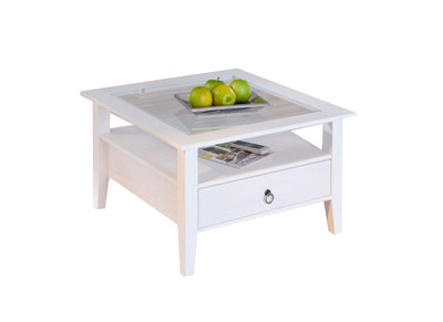 Table basse design blanche pin massif CAMBRIDGE