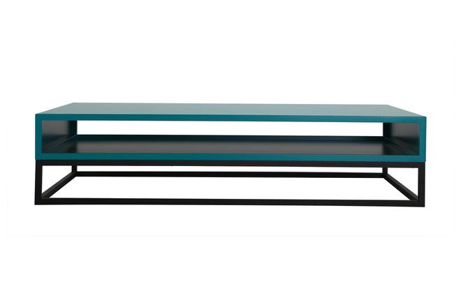 Table basse design bleu surface miliboo - Table basse longue ...