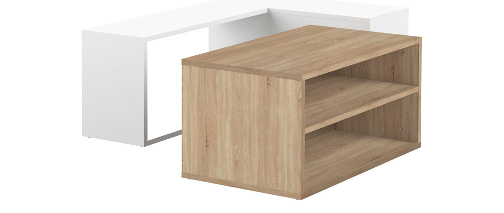Table basse design bois et blanc amovible QUADRA
