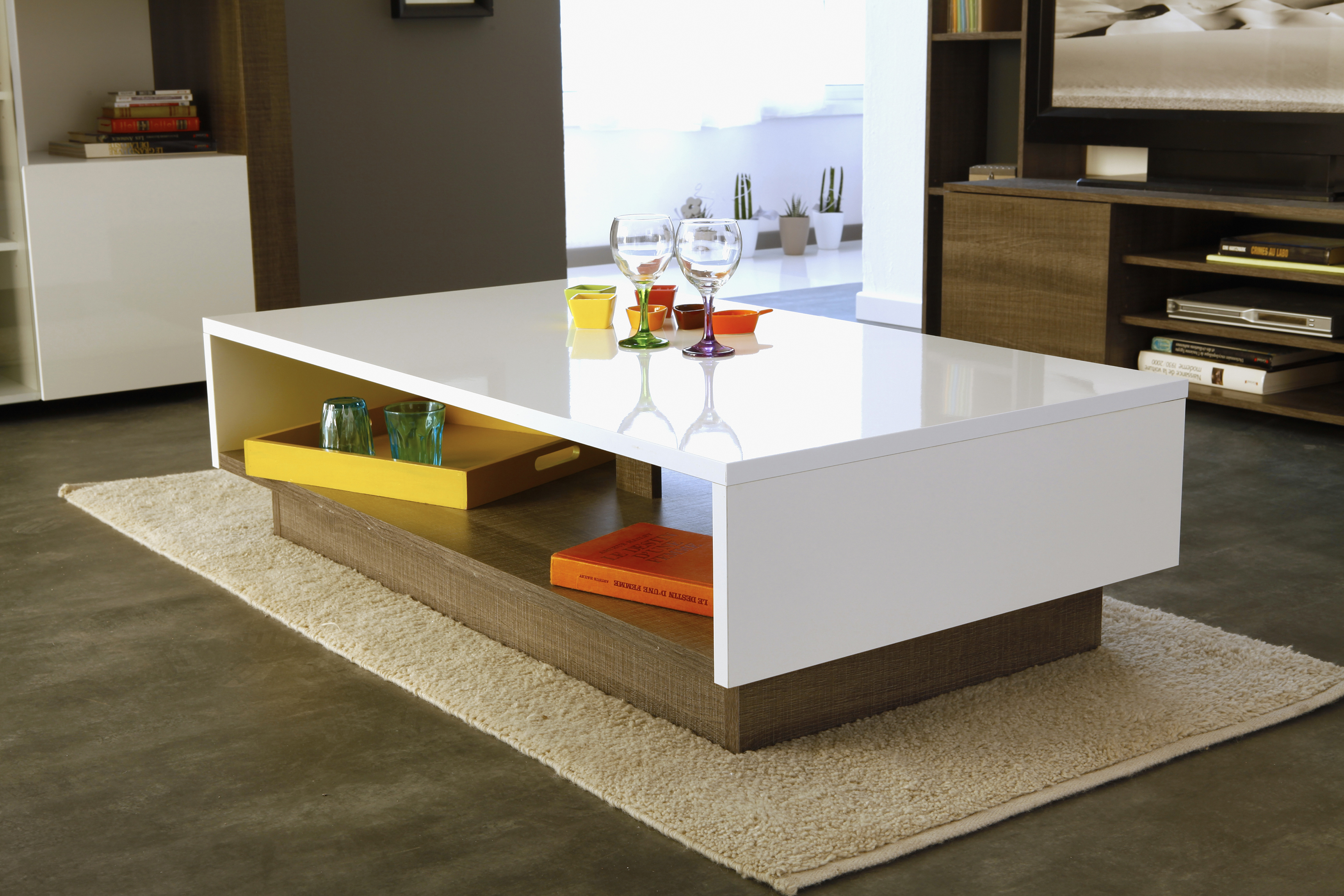 Table basse design grise et blanc - Table basse grise design ...