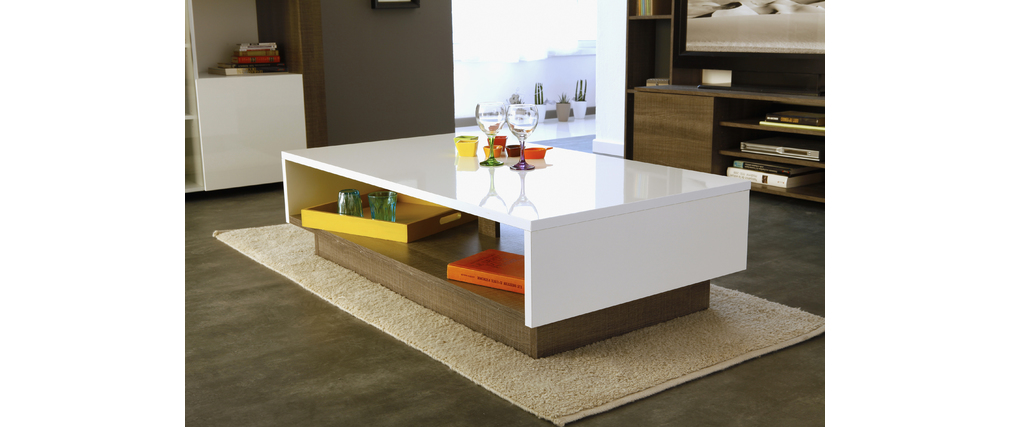 table basse design bois et blanc brillant moca miliboo. Black Bedroom Furniture Sets. Home Design Ideas