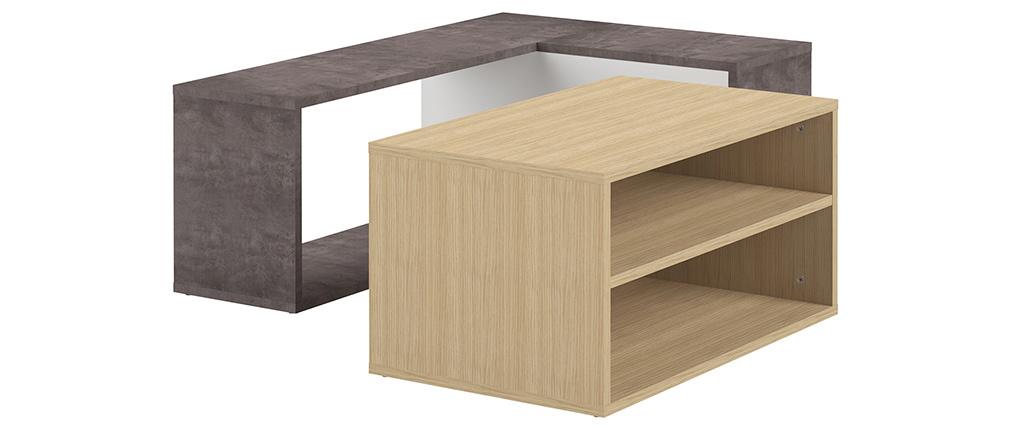 Table basse design bois et gris béton amovible QUADRA