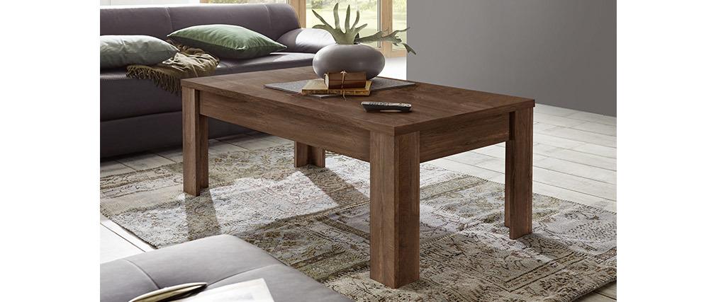 Table basse design bois foncé 122 cm LAND