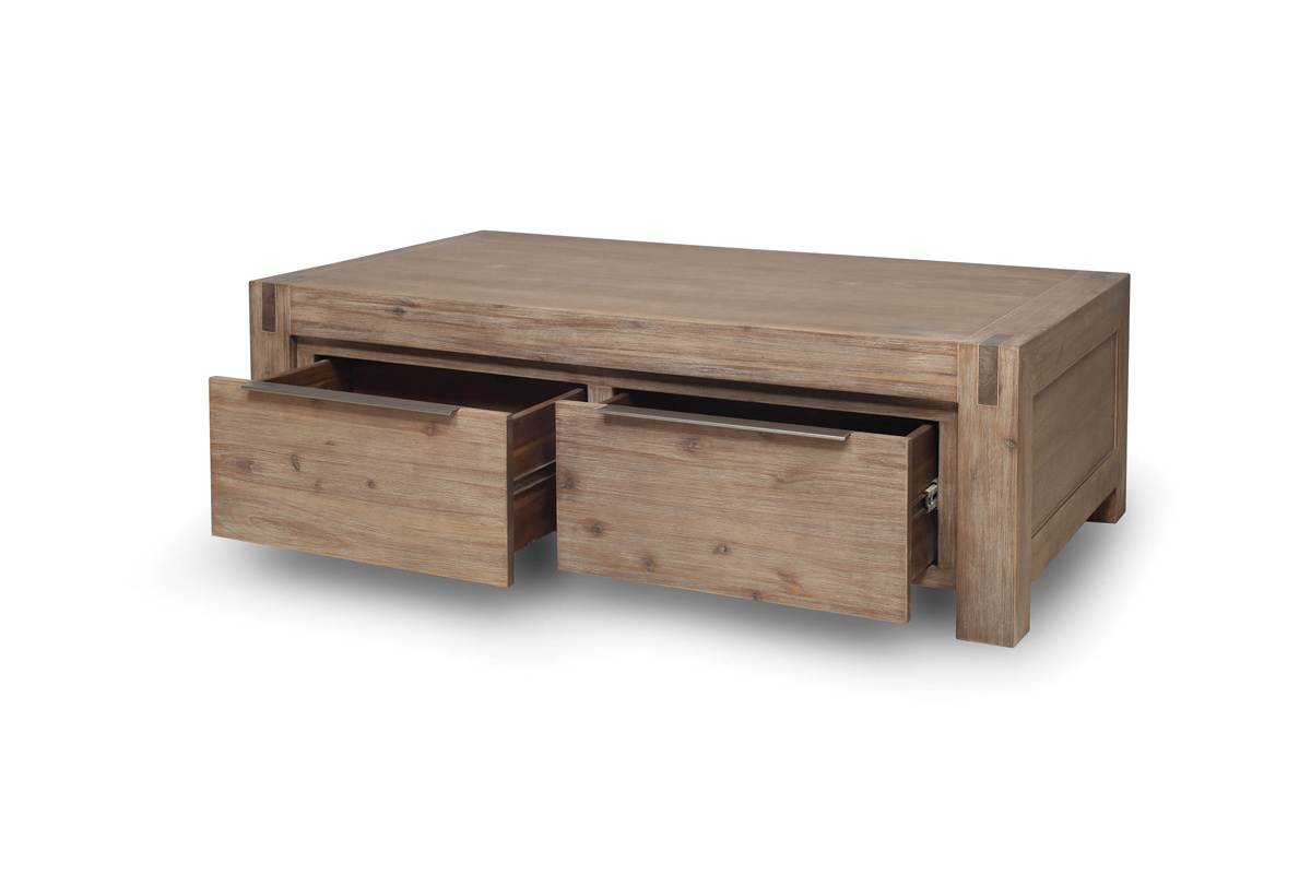 Table basse design bois massif gris melbourne miliboo - Table basse en bois massif ...