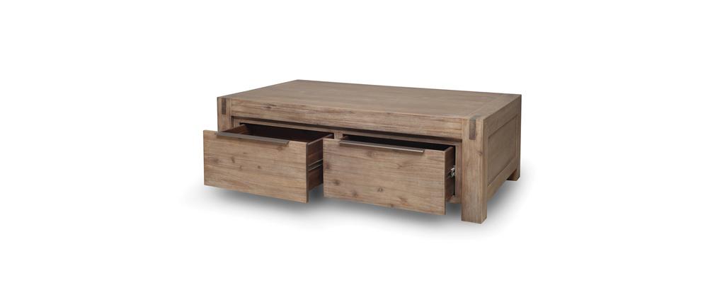 Table basse design bois massif gris melbourne miliboo - Table basse design en bois ...