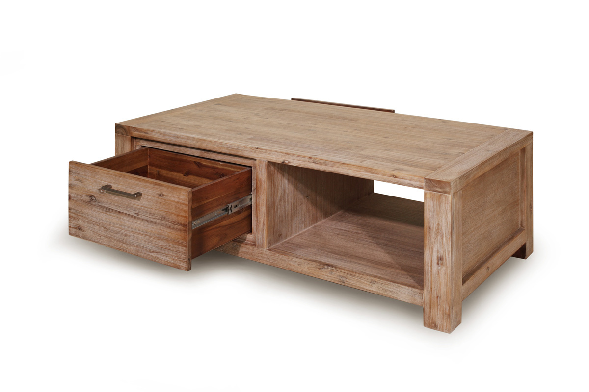 Table basse design bois massif sienna miliboo - Table basse massif bois ...