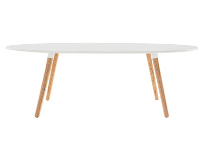 Table basse design bois naturel et blanche GILDA