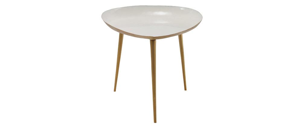 Table basse design en acier laqué blanc 80 cm DROP