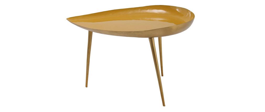 Table basse design en acier laqué jaune 80 cm DROP