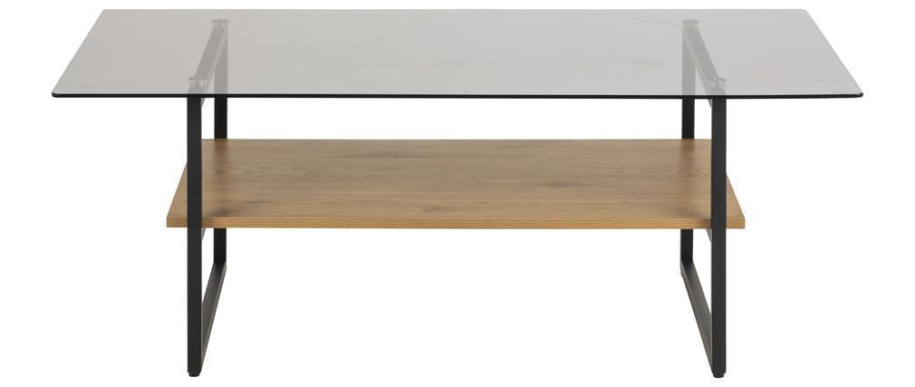 Table basse design en verre fumé avec étagère effet chêne ZAHO
