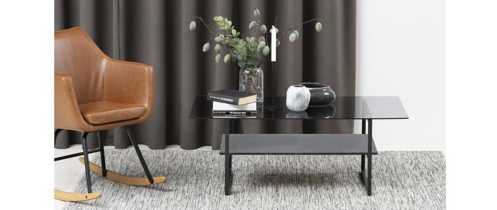 Table basse design en verre fumé avec étagère effet marbre noir ZAHO