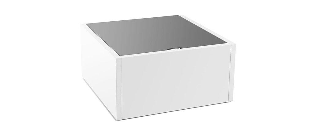 Table basse design extensible avec rangement laqu e grise - Table basse grise laquee ...