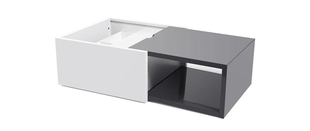 Table basse design extensible avec rangement laqu e grise for Table basse scandinave avec rangement