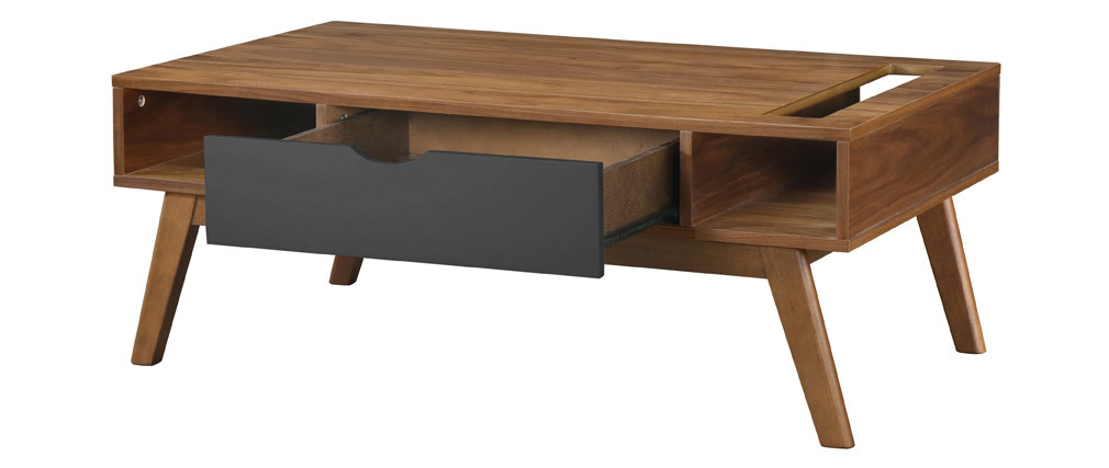 Table basse design gris anthracite et noyer NEELA