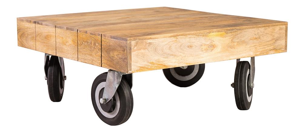 Table basse design industrielle carrée à roulettes 80x80 cm ATELIER