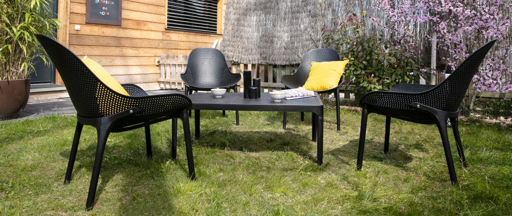 Table basse design intérieur / extérieur noir OSKOL