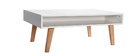 Table basse design laqué blanc mat et bois ADORNA