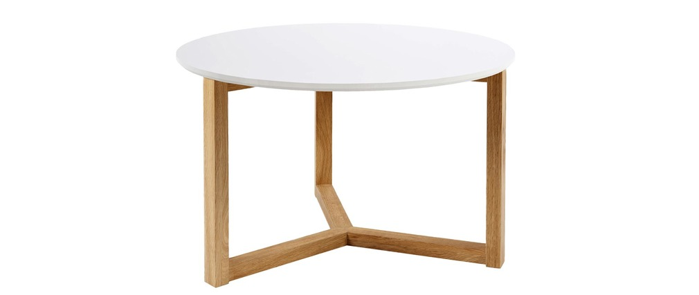Table basse design laqu blanche et bois naturel 90cm for Table basse blanche pied bois