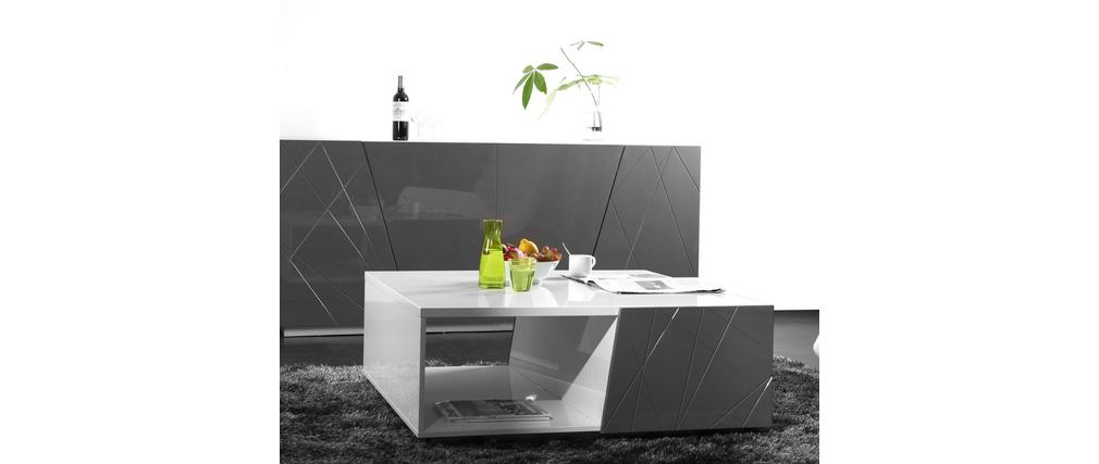 Table basse design laqu e blanc et grise alessia miliboo - Table design grise ...