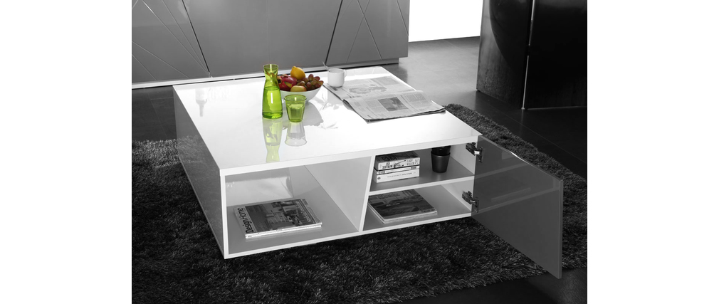 Table basse design laqu e blanc et grise alessia miliboo Table basse laquee grise
