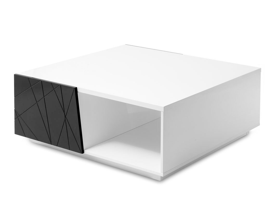 Table basse design laquee noir et blanc homy for Table basse design blanc