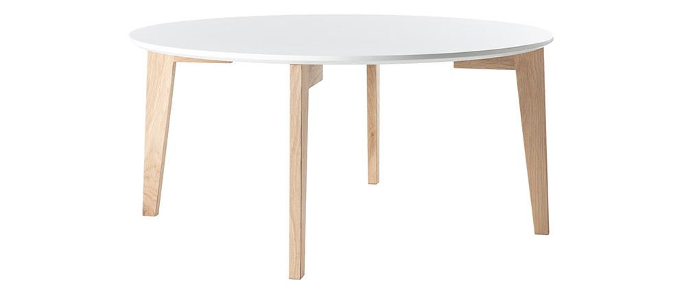 Table basse design laquée blanc mat et bois naturel LARGO
