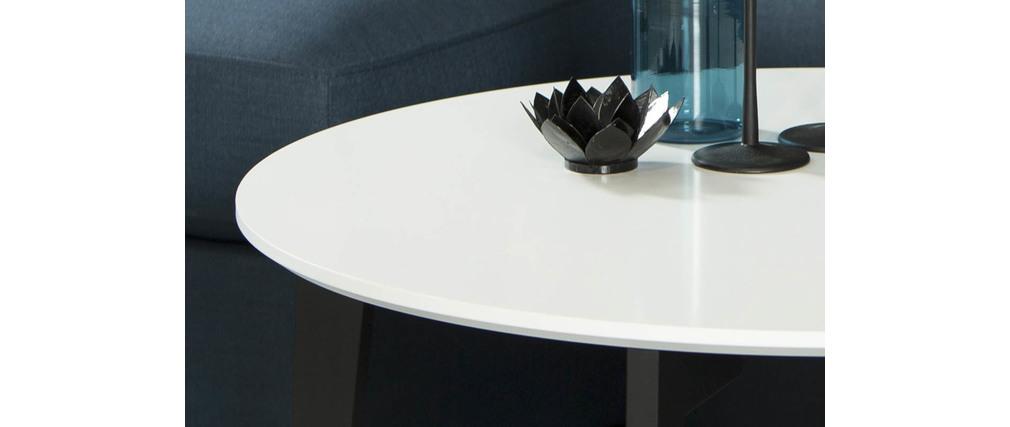 Table basse design laqu e blanc mat et noir largo miliboo - Table basse laquee noir et blanc ...