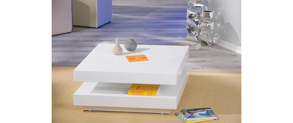 Table basse design laquée blanche DARIA