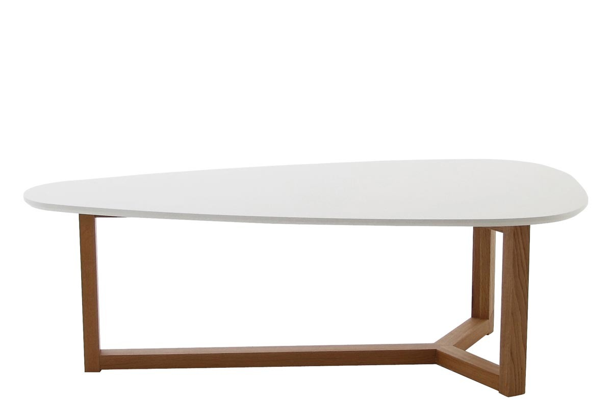 Table basse design laqu e blanche et bois naturel 120cm for Table basse blanche en bois