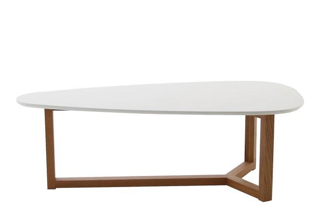 Table basse design laqu e blanche et bois naturel 120cm united miliboo - Table basse laquee blanc et bois ...