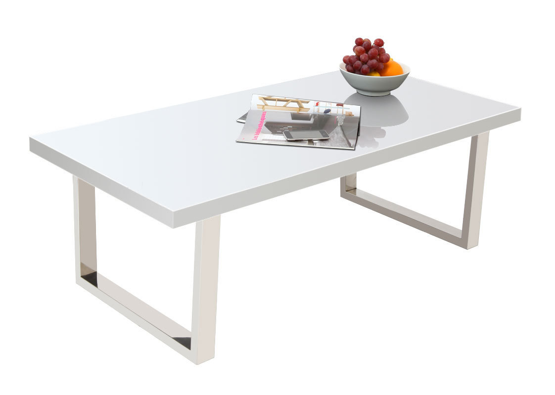 Table basse design laqu e blanche halifax miliboo - Table basse et haute a la fois ...