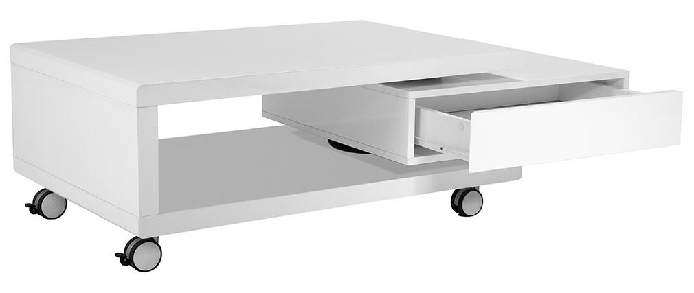 Table basse design laquée blanche LIVO