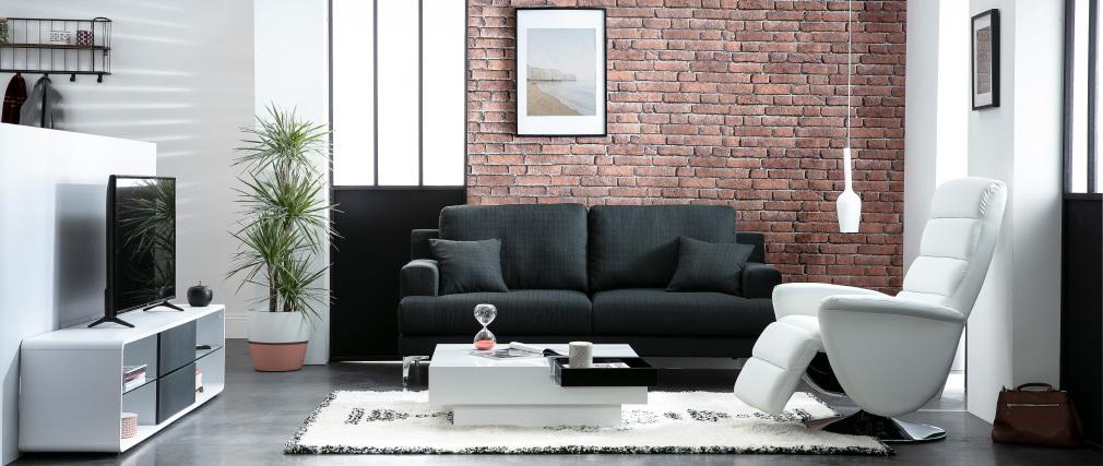 Table basse design laquée blanche plateau noir amovible TEENA