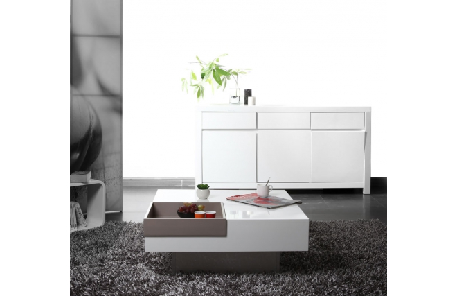 Table basse design laqu e blanche plateau taupe amovible - Table basse blanche et taupe ...