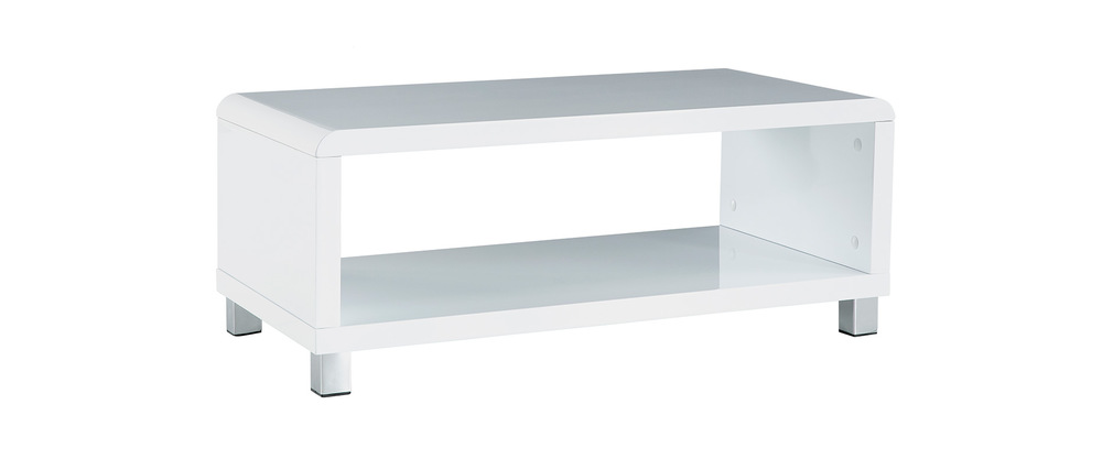 Table basse design laqu�e blanche ROXY