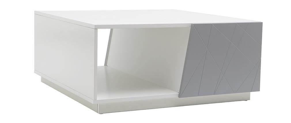 Table basse design laquée gris mat 90cm ALESSIA