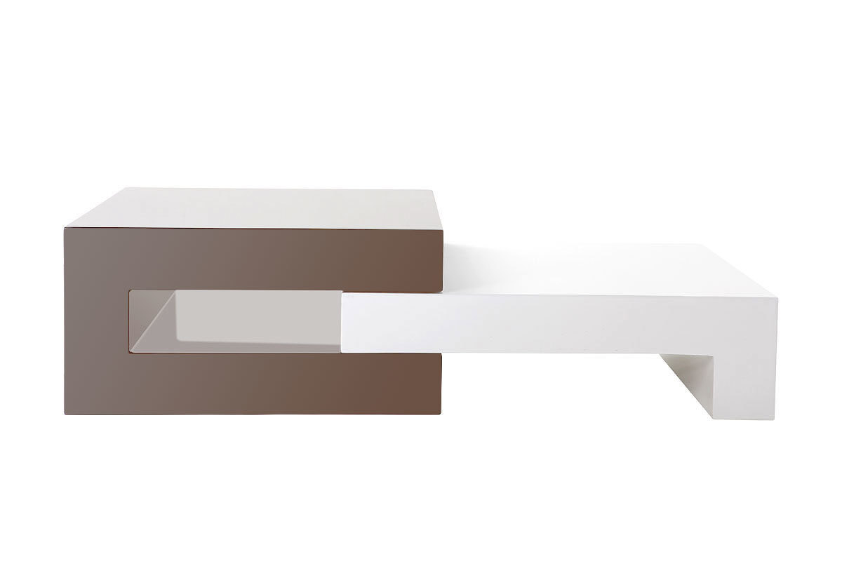 Table basse design laqu e taupe extensible luna miliboo for Table basse et haute a la fois