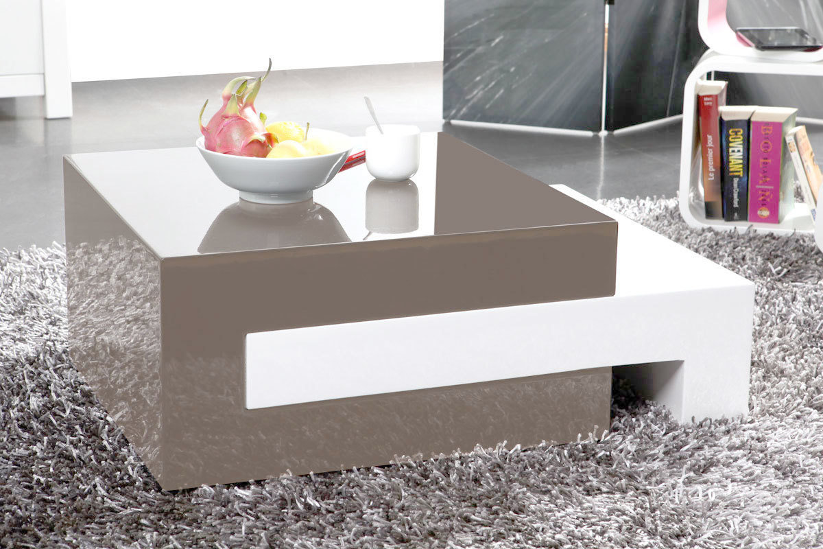 Table basse design laqu e taupe extensible luna miliboo for Table extensible laquee blanc