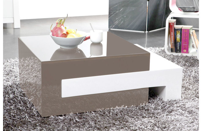Table basse design laquee taupe extensible luna - Fabriquer table basse design ...