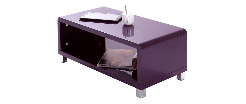 Table basse design laqu e violette roxy miliboo - Table basse violette ...