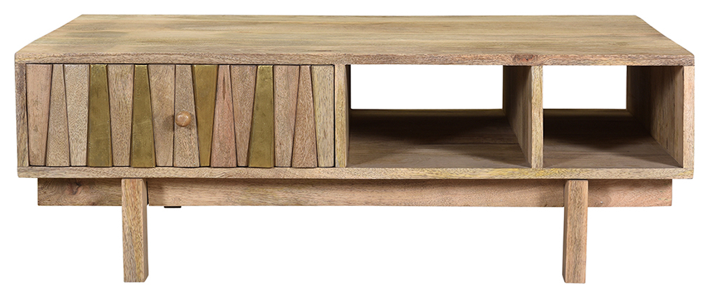 Table basse design manguier massif et laiton ZAIKA